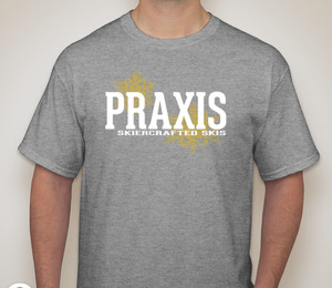 Praxis Skiercrafted Skis Sports Grey T-Shirt